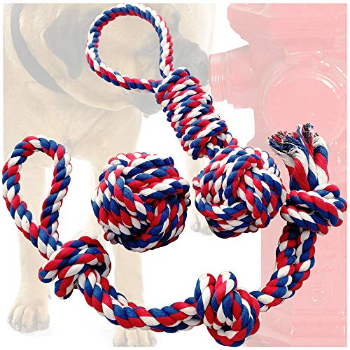 - Otterly Pets Dog Toys (Big Size 3-Pack) - 23-Inch 3-Knot, 13.5-Inch Handled Rope with Attached Ball, 4-Inch Ball - Tough Durable (Not Indestructible) Ropes Toy Set for Medium to Large Dogs
