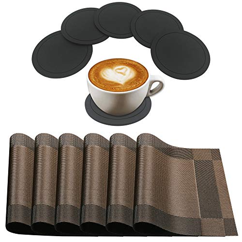 Set of 12 Placemets and Coasters, DaKuan 6 Pieces PVC Stain Resitant Table Mats & 6 Pieces Silicone Cup Coasters, Perfect for Bar and House (Placemets)