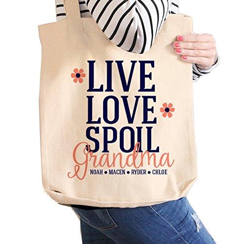 Grandma Tote Bag | Personalized Grandma Tote | Live Love Spoil Grandma Tote