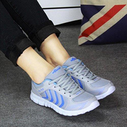 Tefamore Zapatillas de deporte Zapatos deportivos de los planos atléticas ocasionales de la malla respirable del verano de las mujeres Rosa
