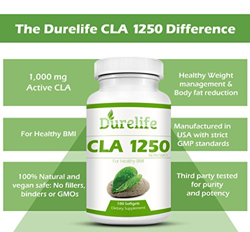 CLA 1250 Mg 180 Count 80% Conjugated Linoleic Acid, DureLife CLA 1,250 Is A Weight Management Diet Supplement Fat Burner And A Non-GMO Natural Weightloss Supplement By Boosting The Metabolism