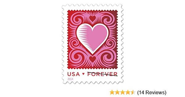 29801d2f9dce8 Amazon.com : Cut Paper Heart Red/White/Pink Stamps Romantic Love Series  USPS Postage New 2014 Sheet of 20 Forever 1st Class Valentine Wedding  Sweetheart ...