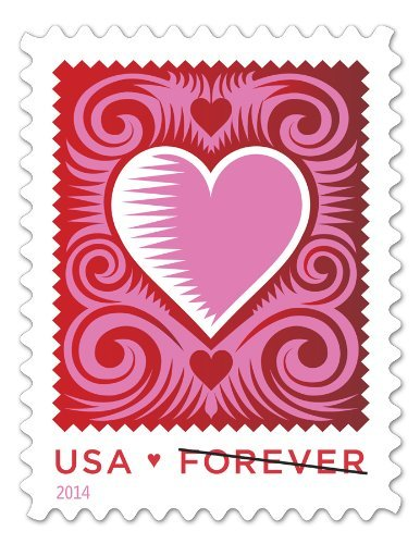 Cut Paper Heart Red/White/Pink Stamps Romantic Love Series USPS Postage New 2014 Sheet of 20 Forever 1st Class Valentine Wedding Sweetheart Stamps 587200