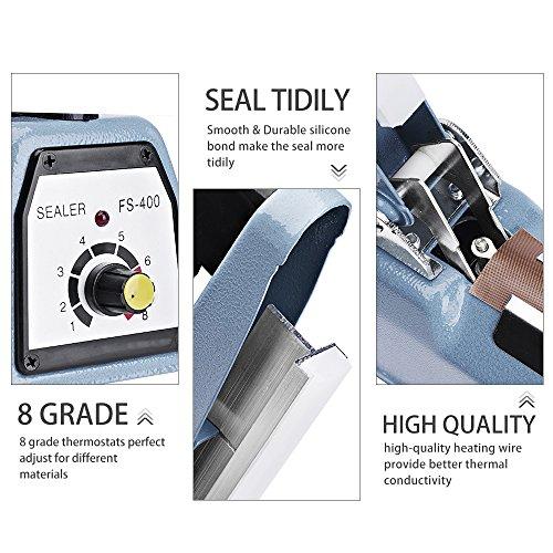 Metronic 16inch/400mm Manual Impulse Manual Hand Sealer Heat Sealing Machine Poly Tubing Plastic Bag with 2 Replacement Kit Blue by Metronic (Image #1)