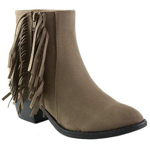 Alpina Womens Boots - alpine swiss Women's Arosa Fringe Boots Block Heel Zip Up, Brown, 7 B(M) US