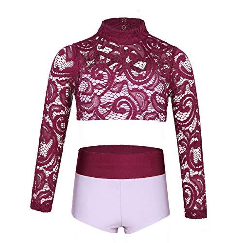 YiZYiF Girls' Kids 2 Piece Athletic Long Sleeve Turtleneck Crochet Top and Shorts Set for Workout/Gymnastics/Dancing Burgundy&Lavender ()