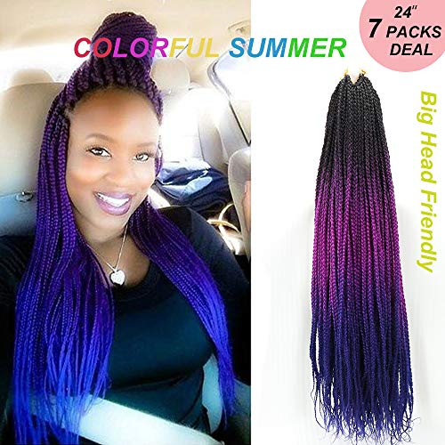 Senegalese Twist Box Braids Crochet Hair 24 inch 7 Packs/Lot Big Head Friendly Handmade 3 Tone Ombre Color Braiding Crochet hair Extensions for Black Women(3s,Black/Purple/Blue)