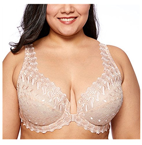 Carol Chambers Women's Lace Front Close Unlined Plus Size Support Embroidered Underwired Bra Beige03 46C