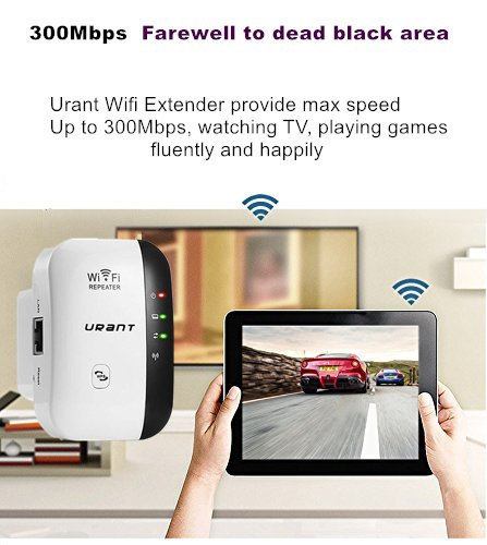 URANT 300M WiFi Extender, Wireless Repeater Booster High Gain Range Extender Hotspot Powerline Adapter with Ethernet Port Wall Plug Mini Router AP/Repeater Mode-2.4GHz by URANT (Image #1)