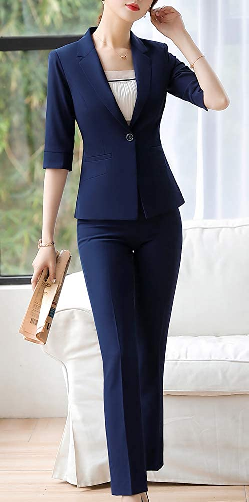 Women/'s Formal Business Blazer Suit Solid Half Sleeve Women Suits for Work Blazer Jacket Pant//Skirt Suits