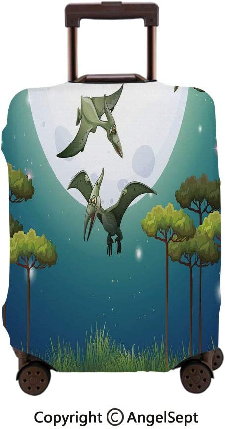 Travel Luggage Cover Spandex Suitcase,Coon Style Dinosaurs Flying on Full Moon Magical Night Enchanted Forest Green White Blue,30x40inches,Protector Carry On Covers with Zipper