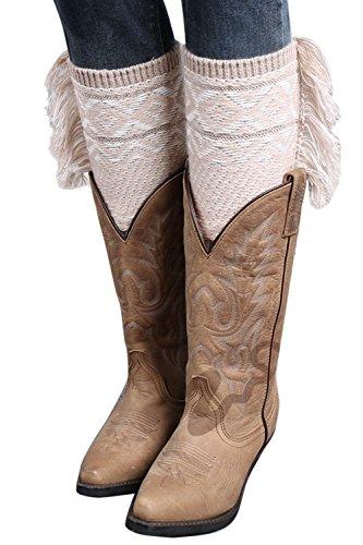Pu De Tejida De Invierno Crochet A Rodilla Navidad La Mujer Warmers 6 os De Acolchados Leg Borlas Bota Bohemia tw85Oq