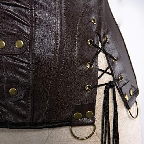 Kranchungel Women's Punk Rock Faux Leather Corset Retro Goth Waist Cincher Basque Bustier