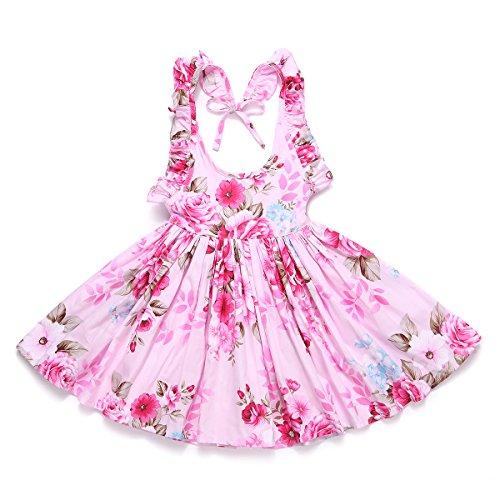 Flofallzique Floral Vintage Toddler Girls Dress Holiday Party Backless Dress for Kids (3, Deep Pink) - Toddler Holiday Dresses