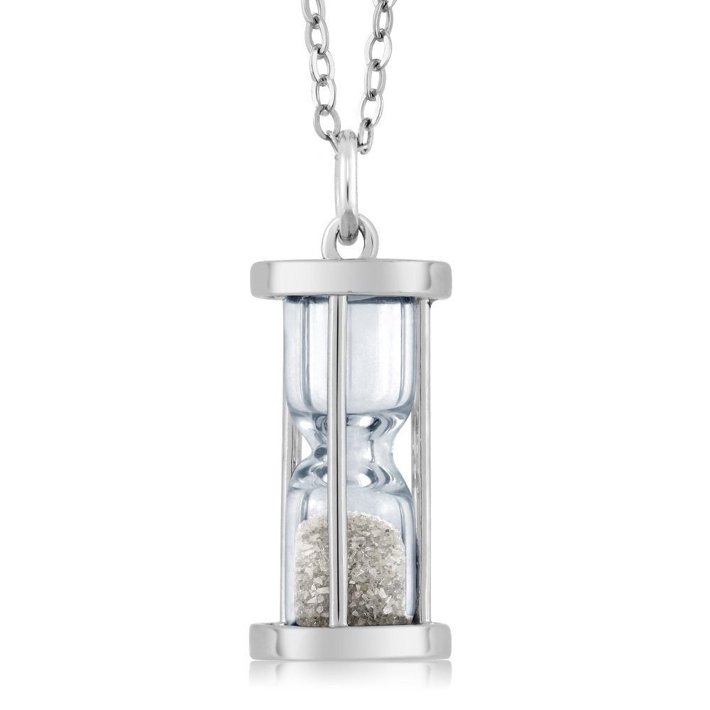 925 Sterling Silver Genuine Diamond Dust Hourglass Pendant Necklace (0.50 Ct, With 18 Inch Silver Chain)