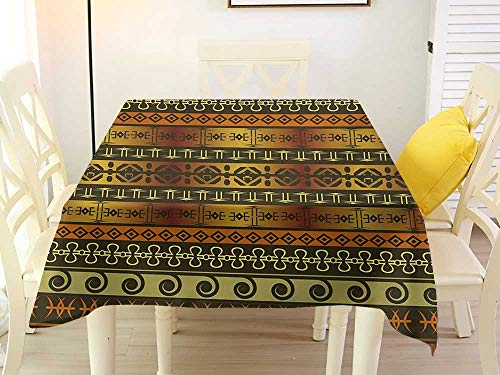 L'sWOW Square Tablecloth Runner Zambia Ethnic Ornamental Abstract Heritage Traditional Ceremony Ritual Image Gold Dark Brown Orange Pattern 54 x 54 Inch
