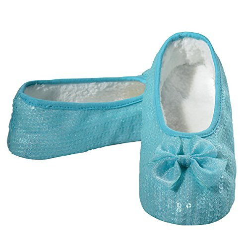 Snoozies Womens Prism Bling Ballet with Bow Non Skid Slipper Socks - Blue Shimmer, Large