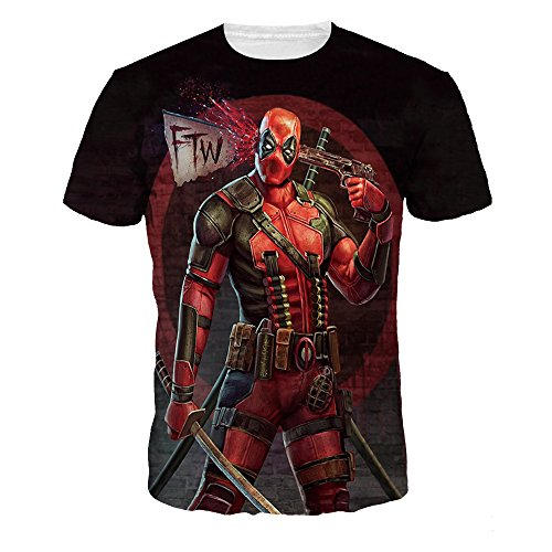 NEWCOSPLAY Colorful 3D Printed Short Sleeve T-Shirt Fashion Couple Tees (M, Deadpool)