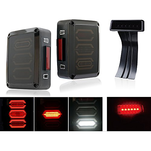 Xprite G3 Diamond Smoke LED Tail Light & Smoke Lens Red 3rd LED Brake Light For Jeep Wrangler JK JKU 2007 - 2017 (Diamond Smoke)
