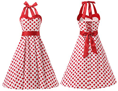 DRESSTELLS Vintage 1950s Rockabilly Polka Dots Audrey Dress Retro Cocktail Dress White Red Dot XS