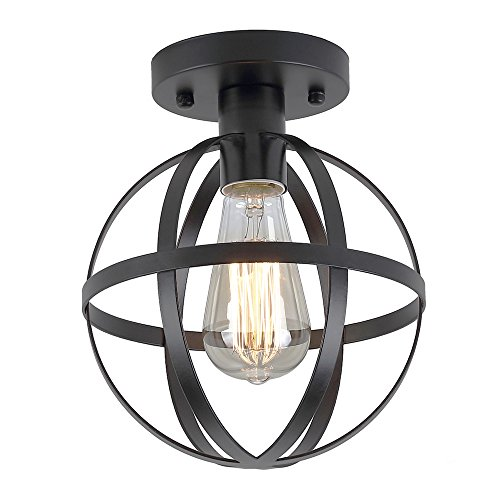 ZZ Joakoah Industrial Vintage Rustic Semi Flush Mount Ceiling Light, Metal Spherical Pendant Lighting Lamp Fixture for Hallway Stairway Kitchen Garage, E26, Black Painting Finish. For Sale