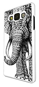 Funky Aztec elephant Cool Design Samsung Galaxy A3 / Samsung Galaxy A5 / Samsung Galaxy A7 CASE Back Fashion Trend COVER Plastic & Metal -Select your phone model and Frame Colour from the drop box under (Samsung Galaxy A3, White)