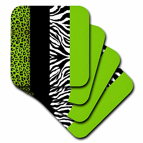 3dRose CST_35440_3 Lime Green Black and White Animal Print-Leopard and Zebra-Ceramic Tile Coasters, Set of - Animal Green Zebra Print