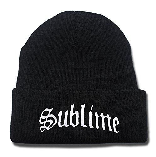 JRICK Sublime Band Logo Beanie Fashion Unisex Embroidery Beanies Skullies Knitted Hats Skull Caps - Black/White ()