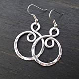 Lightweight Hammered Aluminum Earrings silver-tone Infinity