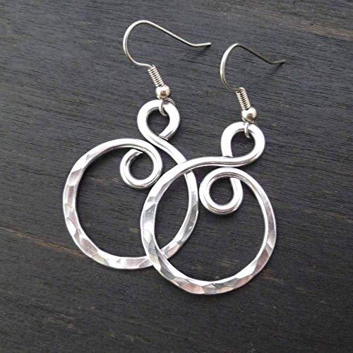 Ring Earrings Wedding (Lightweight Hammered Aluminum Earrings Silver Tone Infinity)