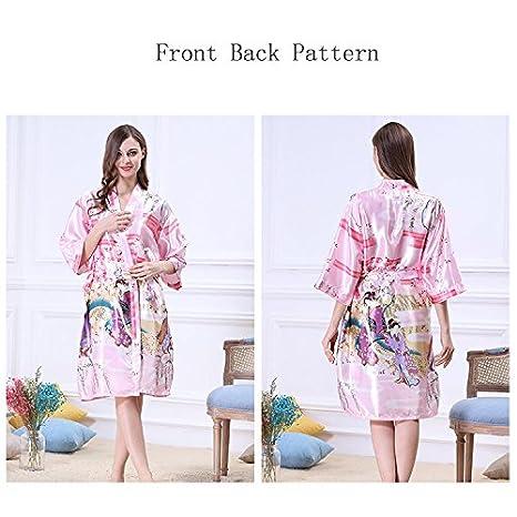 Albornoces Vestido de mujer Kimono vestido de albornoz de seda de imitación Clásica belleza Dama de honor pijamas Estilo largo Home Hotel Spa albornoz ...