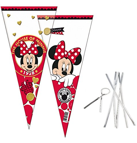 Minnie Mouse Cone Party Cello Bags - Sweet Candy Cones & Twist Ties - Birthday Favours Bag 20x40cm (6 cones) for $<!--$4.99-->