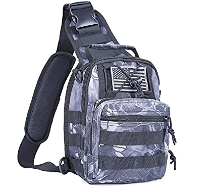 boxuan Outdoor Tactical Shoulder Backpack?+flag patch?, Military & Sport Bag Pack Daypack for Camping, Hiking, Trekking, Rover Sling,chest bag,Multi-Size Options,Multi-color Options