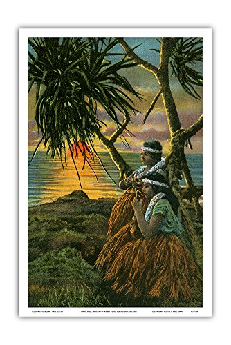 Sunset Hilo, T.H. Territory of Hawaii - Native Hawaiian Hula Girls Playing Ukelele - Vintage Hawaiian Color Postcard c.1932 - Hawaiian Master Art Print - 12 x 18in