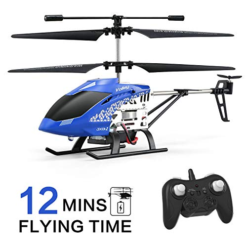 Helicopter with Remote Control, JJRC JX01 Helicopter Altitude Hold Helicopter with 2Batteries, Gyro 2.4GHz and LED Light for RTF Crash Resistance Helicopter RC Drone Toy Gift (Blue)