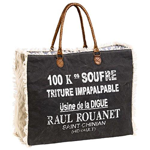 Canvastasche RAUL - dunkelgrau/creme - mit Fransen - XL Shopper - Strandtasche - Vintage