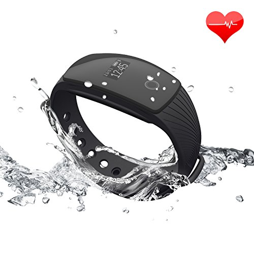 Fitness Tracker RIVERSONG Updated Version Waterproof Heart Rate Tracking Smart Bracelet Pedometer Activity Sleep Monitors Calorie Tracking Wristband for iPhone and Android Phones (Black4)