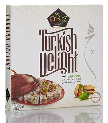 (Turkish Delight with Amazing Turkish Pistachio Luxury %100 Hand Made Lokum Candy Dessert Gourmet Box (Approx.35 Pcs) 10.5 Oz)
