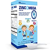 vitamin d testing - Zincomega Kids Vitamins - Fish Oil Omega 3 Spoons New Essential Fatty Acids Aid EPA&DHA, Vitamin D and Zinc Supplement, Immune Support, Lemon Flavor - 20 Spoons