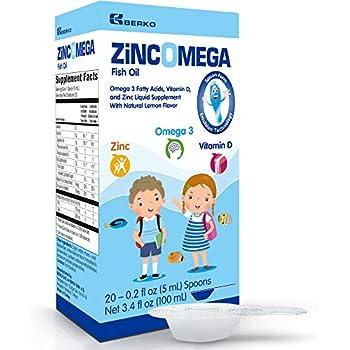 Zincomega Kids Vitamins Fish Oil Omega 3 Spoons New Essential Fatty Acids Aid Epa Dha Vitamin D