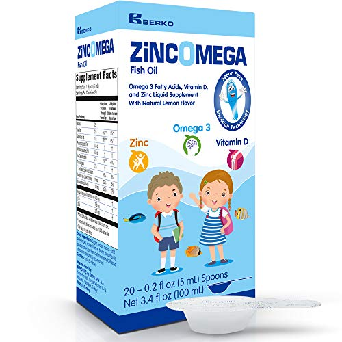 Zincomega Kids Vitamins – Fish Oil Omega 3 Spoons New Essential Fatty Acids Aid EPA&DHA, Vitamin D and Zinc Supplement, Immune Support, Lemon Flavor – 20 Spoons Review
