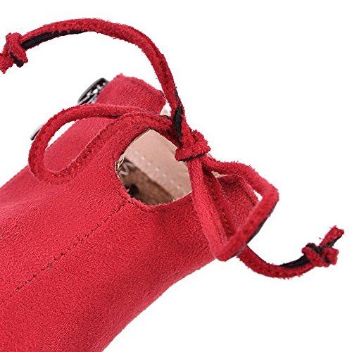 AllhqFashion Mujeres Puntera en Punta Caña Baja Tacón Alto Sólido Gamuza(Imitado) Botas Rojo