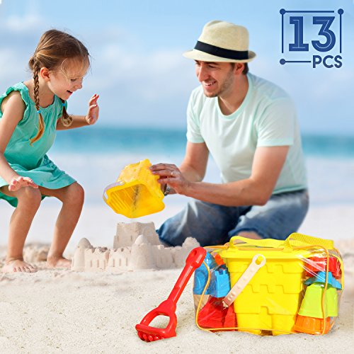 SGILE 13-pcs Sand Beach Toy Set with No-sharp Model Molds Bucket, Shovel, Rake, Kettle in Reusable Zipper Bag, Best Summer Camping Sea Beach Patio Play Toy for Toddler Kids Child, ()