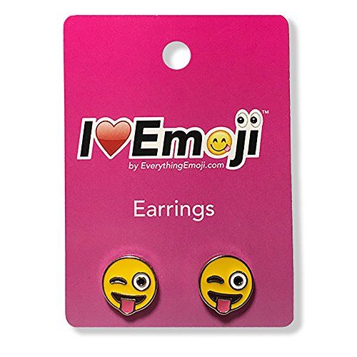 Everything Emoji | Tongue Wink Face Silver Stud Earrings | Cute Emoticon Jewelry Set | Quality Gifts & Accessories