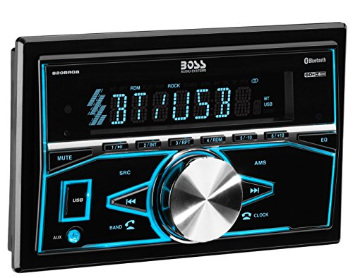 BOSS Audio 820BRGB Car Stereo - Double Din, Bluetooth, (No CD/DVD) MP3/USB AM/FM Radio, Multi Color Illumination ()
