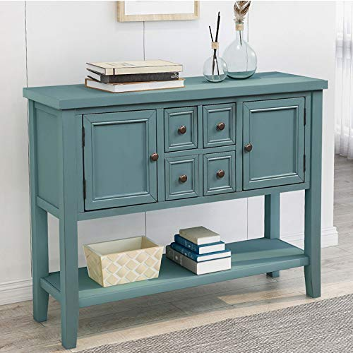 P PURLOVE Console Table Buffet Table Sideboard with Storage Drawers Cabinets and Bottom Shelf (Dark Blue)