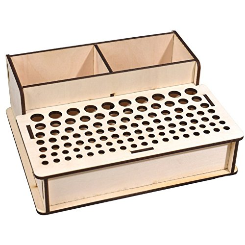 Para-wish Wood Leather Craft Tools Holder Rack Stand Leather Stamp Punch Tools Storage Box Organizer