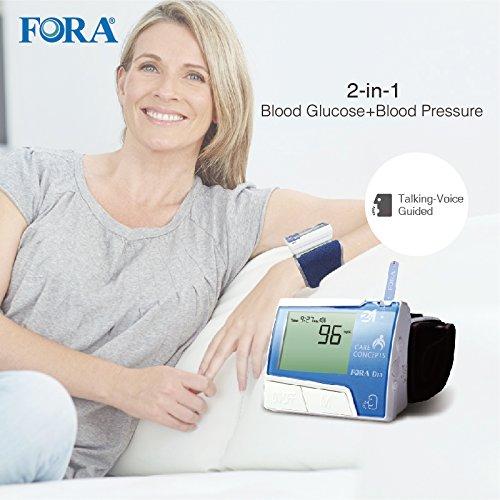 FORA D10 2-in-1 Blood Glucose & Blood Pressure Monitor (Wrist/Talking)