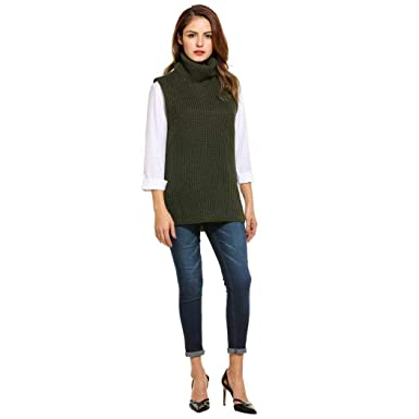 bc71ff5ff4e59 Women s Slit Side Turtle Neck Ribbed Cable Knit Long Sweater Jumper Army  Green M