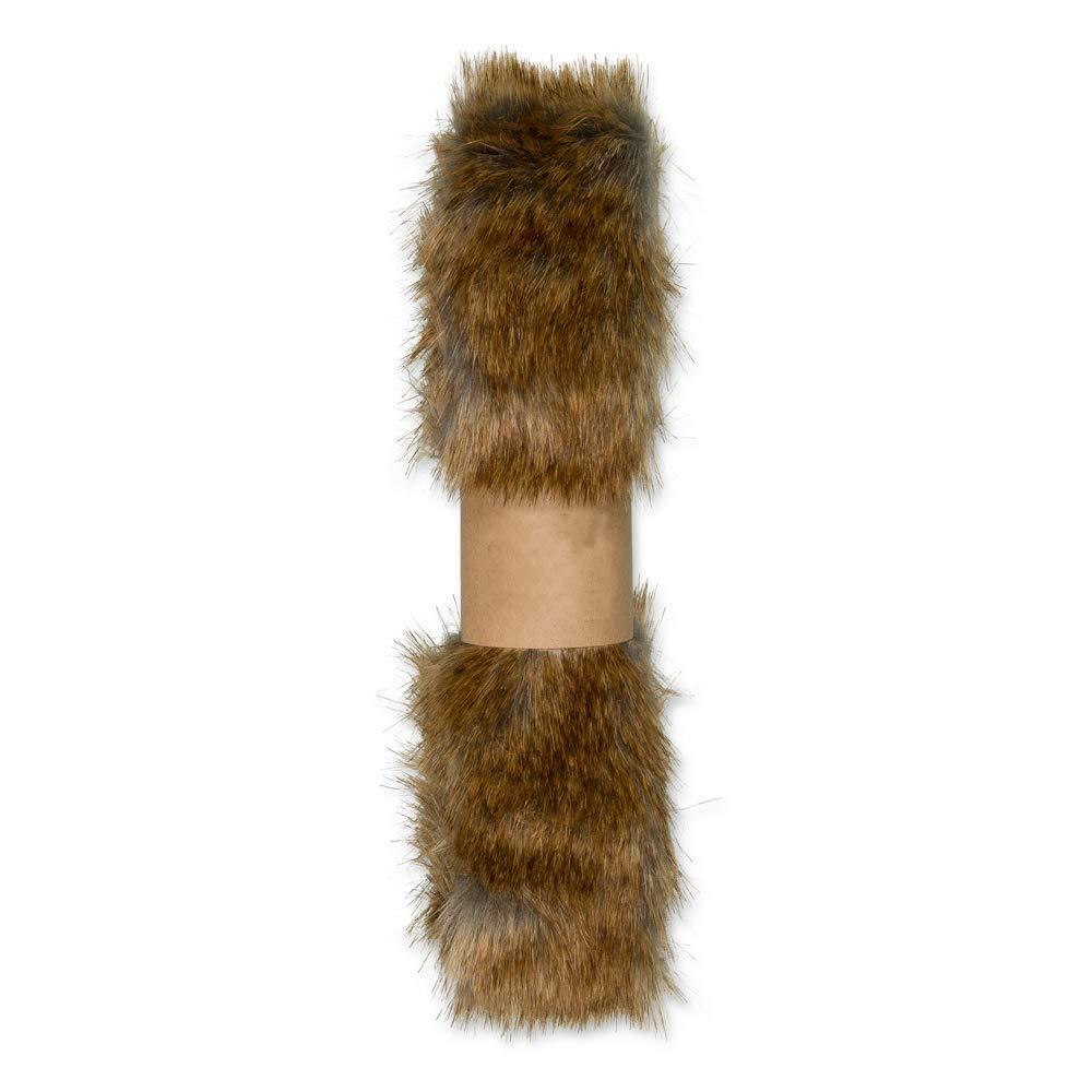Faux Fur Ribbon Trim 2m x 50mm Brown